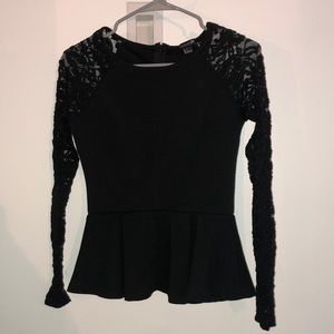 black peplum shirt with lace sleeves